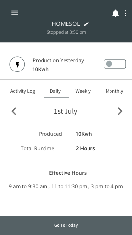 Device Daily Details Screen